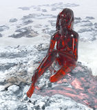 Red glass woman. 3D red glass woman sitting in fantasy rocky and foggy environment vector illustration