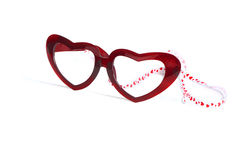 Red glasses with heart and ribbon for valentine Stock Photography