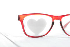Red glasses with heart Royalty Free Stock Images