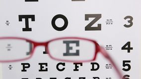 Red glasses held up to read eye test. For optician stock video footage