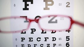 Red glasses trying to focus on reading test Royalty Free Stock Photo