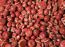 Red Glazed Pottery Beads Royalty Free Stock Image