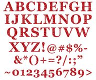 Red Glitter Alphabet Letters Royalty Free Stock Images