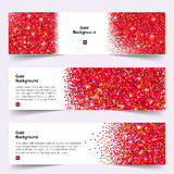 Red Glitter banners set Stock Photo
