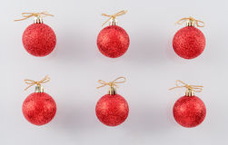 Red Glitter Christmas Balls Stock Photos