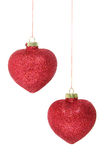 Red glitter christmas baubles isolated on white Stock Image
