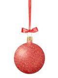 Red Glitter Christmas decor ball with bow on ribbon isolated on Stock Image