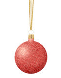 Red Glitter Christmas decor ball on ribbon isolated on white Stock Photos