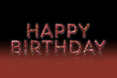 Red glitter happy birthday text effect reflect with gradient background Royalty Free Stock Photography