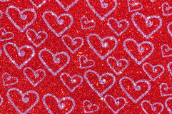 Red glitter with heart texture background Royalty Free Stock Photo