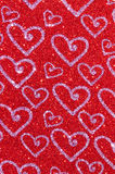Red glitter with heart texture background Stock Image