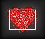 Red glitter heart Valentine day card Vector. Sparkle lovely poster. Romantic banner. Invitation card or brochure. Red. And black color background royalty free illustration