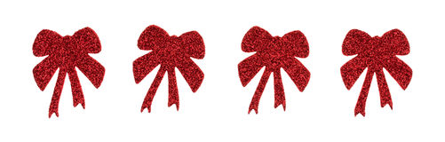 Red glitter holiday ribbon stickers on a white background Stock Images
