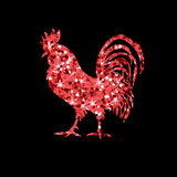 Red glitter rooster on black background. Stock Images