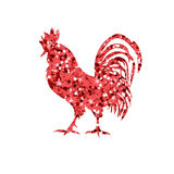 Red glitter rooster on white background. Chinese calendar for the year of red rooster 2017. Rooster red silhouette on white background with white numbers 2017 Stock Photo