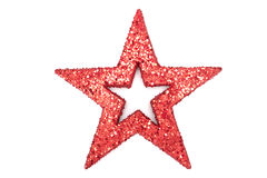 A red glitter star Stock Images