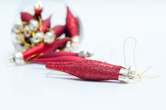 Red glittered cones. For the christmas tree Royalty Free Stock Images