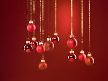 Red glittery christmas globes Royalty Free Stock Photos