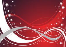 Red glittery and wavy lines. With stars on red gradient background Stock Photography