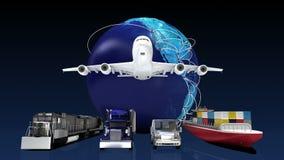 Red global cada vez mayor con el aeroplano, tren, nave, transporte del coche ilustración del vector