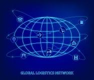 Red global de la logística Conexión global de la sociedad de la logística del mapa Iconos del globo y de la logística bajo la for stock de ilustración