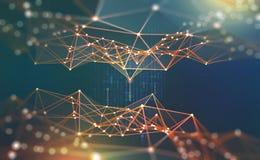 Red global Ejemplo de Blockchain 3D Redes neuronales e inteligencia artificial Concepto de ciberespacio ilustración del vector