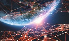 Red global Ejemplo grande de la tierra 3D del planeta de los datos Tecnología de Blockchain ilustración del vector