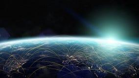 Red global y elementos de intercambio de datos de la representación 3D de esto i stock de ilustración