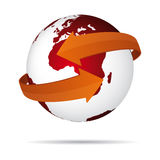 Red globe with arrows Stock Images