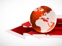 Red globe with arrows Royalty Free Stock Image