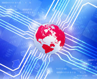 Red Globe world map and wiring diagram departing Stock Images