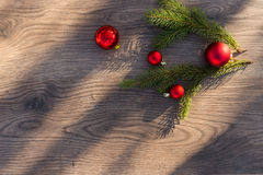 Red globes with fir branches Royalty Free Stock Photo