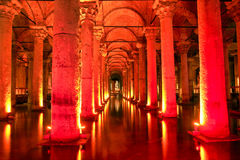 Red gloomy hall. With columns royalty free stock images