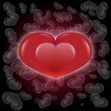 Red Gloss Heart and White Die Heart background vector illustration