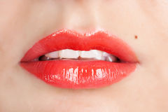 Red gloss lips Royalty Free Stock Photo
