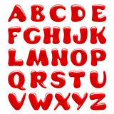 Red glossy alphabet capital letters isolated on white background Royalty Free Stock Photos