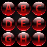 Red glossy alphabet letters (A-I) Stock Images