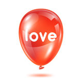 Red glossy balloon with word love. Happy Valentine day greeting card.  vector illustration