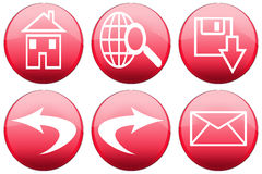 Red Glossy Browser Buttons Stock Photos
