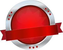 Red glossy button. Red glossy round metallic button Royalty Free Stock Photo