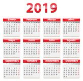 2019 Spanish calendar red and glossy. Red glossy calendar for 2019 year in Spanish language. Vector illustration stock illustration