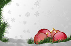 Red glossy Christmas ball. Red glossy Christmas ball with snowflakes Stock Photos