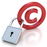 Red glossy copyright sign with padlock on a white. 3D illustration. red glossy copyright sign with padlock on a white background Royalty Free Stock Photos