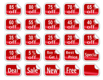 Red Glossy Discount Stickers. A collection of 25 sale discount stickers with curled edges and different sale offers and discount percentages written on them Stock Image