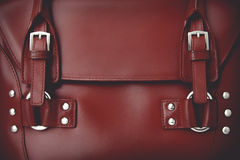 Red glossy female leather bag Royalty Free Stock Photos
