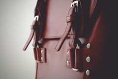 Red glossy female leather bag Royalty Free Stock Photo