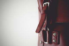 Red glossy female leather bag Royalty Free Stock Images