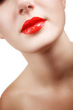 red glossy female lips Royalty Free Stock Photography