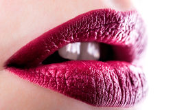 Red glossy female lips Stock Image
