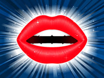 Red glossy female lips on star burst background Stock Photos